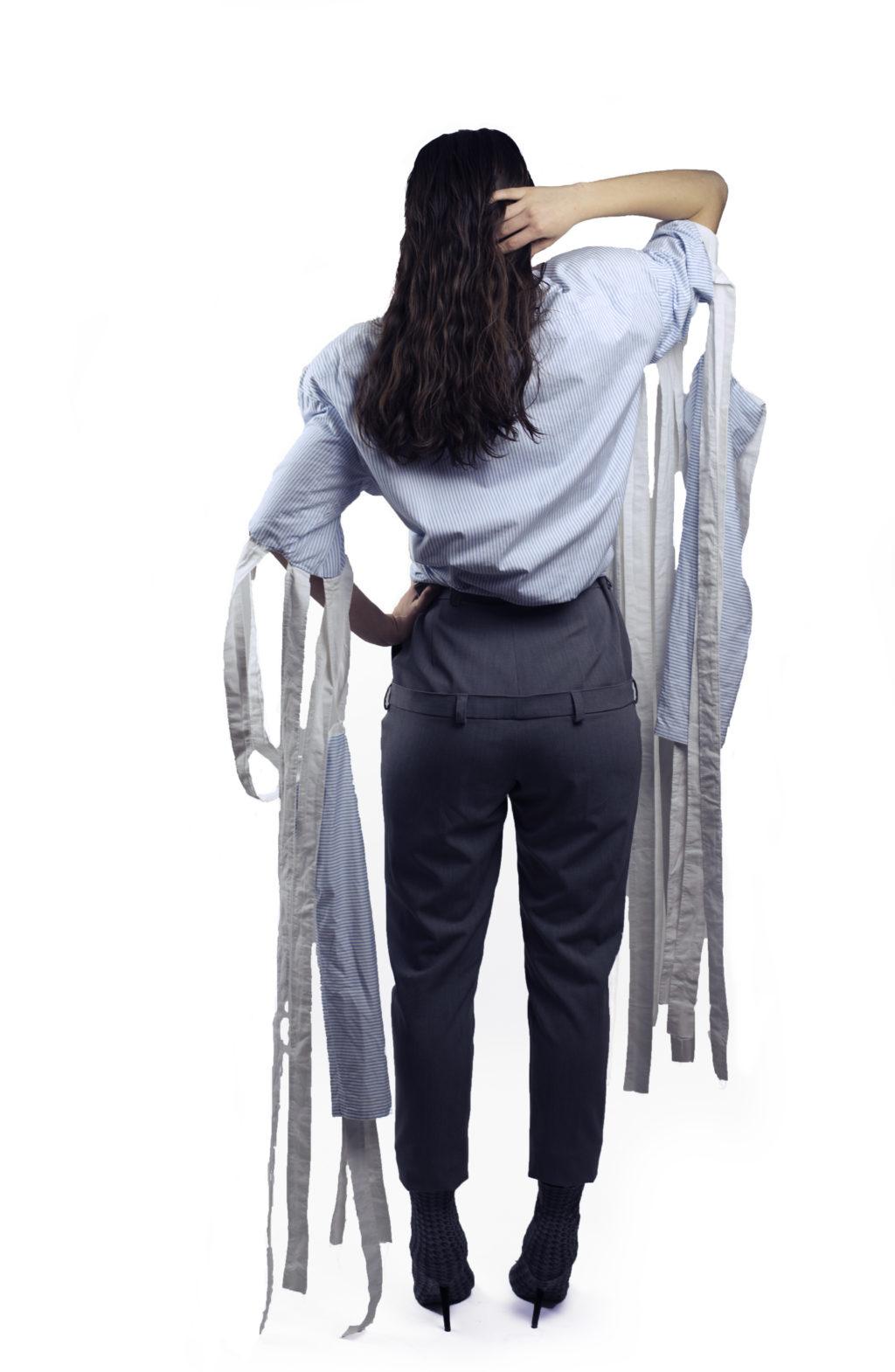 Pantaloni 2 in 1 cu talie inalta, creatie semnata Mirela Cioara