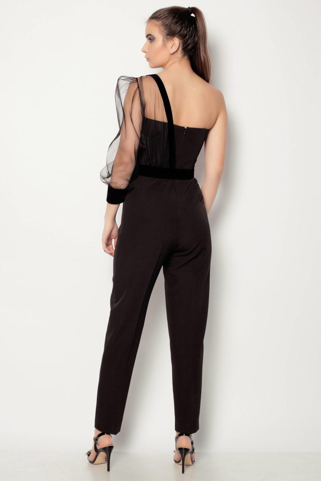 Salopeta neagra eleganta cu pantaloni pana marca Terra by C.