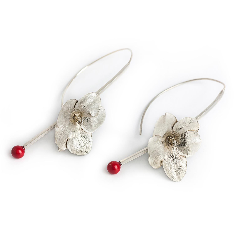 ieftin de vânzare cea mai fină selecție noua versiune Cercei argint handmade cu flori si perla Swarovski