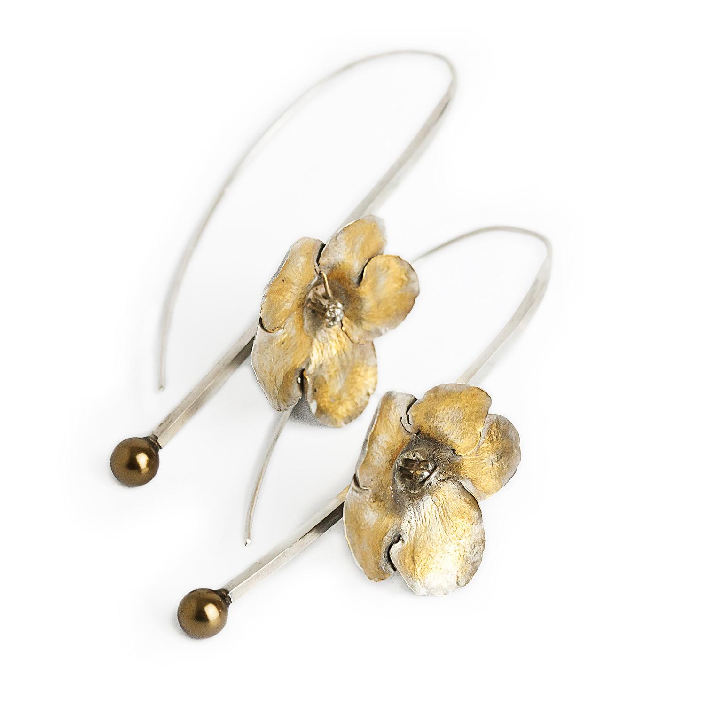 intreaga colectie 100% autentic marimea 7 Cercei argint handmade cu floare placata cu aur si perla Swarovski